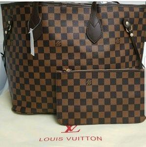 New Louis Vuitton Neverfull MM Handbag Purse 2pcs